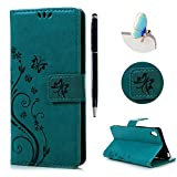 Sony Xperia XA Case Cover - Lanveni Premium PU Leather Wallet Flip Cover Bookstyle & Magnetic Closure & Butterfly Flowers Embossed & Stand Function Protective Cover with One Dust Plug & One Stylus Pen for Sony Xperia XA ,Teal