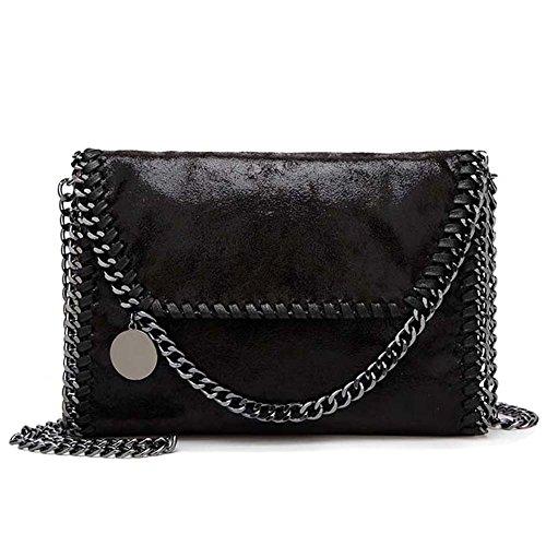 Handtasche Clutch Damen PU lässigen Kette Gesandten Crossbody-Tasche Schwarz, by Toyu S Lady (Messenger Collection-leder-kleiner)