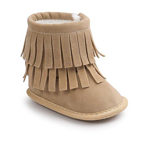 Estamico Kleinkind Baby Jungen Mädchen Winter Warme Weiche Sohle Quaste Schnee Stiefel Mokassins Schuhe Beige 3-6 Monate (Kleinkind-jungen-schnee-stiefel)