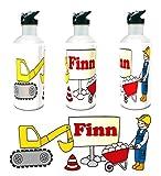 Kinderlampenland personalisierte Trinkflasche Bagger auf Baustelle mit Wunschname 400ml