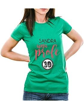 Calledelregalo Regalo para profesoras Personalizable: Camiseta 'Profe 10' Personalizada con su Nombre (Verde)