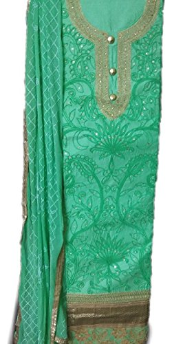 Rps Globe Traditional Beautiful and Attractive Green Color Cotton Unstiched Salwar Suit...