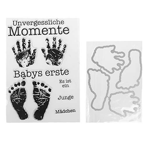 Mentin DIY Transparente Briefmarke Hand Fuß, Silikon Stempel Set, Clear Stamps, Schneiden Schablonen, Bastelei Scrapbooking-Werkzeug