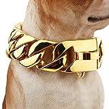 DINGG 30mm Dog Collar, Edelstahl-Gießhund Kragen großen Hund Bulldog Anti-Bite, Durable Dog Halskette für großen Hund,65cm