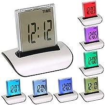 OROLOGIO SVEGLIA + TERMOMETRO DIGITALE CON LCD LED A 7 COLORI DIGIFLEX