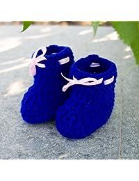 LOVE CROCHET ART Wool Pre Walker Crochet Baby Booties, 6-12 Months (Blue)
