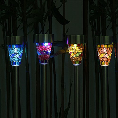 Solalite Pack of 6 - Solar Mosaic Garden Border Post Stake Lights