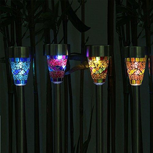 Solalite Pack of 6 - Solar Mosaic Garden Border Post Stake Lights