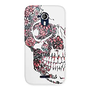 Beautiful Floral Danger Skull Back Case Cover for Micromax Canvas Magnus A117