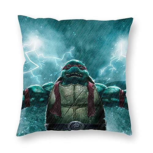 Dartys Pillow Cover Teenage Mutant Ninja Turtles rain Raphael Kurze Plüschkissenbezüge Fashion Classic Stripes Home Decor 45x45cm 18x18Zoll Schmusetuch Digitaldruck weiche Kissenbezüge Deko
