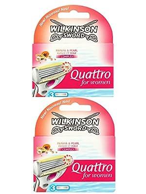 2 x Wilkinson Sword Quattro for Women Razor Blades - 2 Packs of 3 Blades