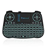 DQiDianZ Mini Teclado inalámbrico retroiluminado con Pantalla táctil 2.4GHz en versión española, Dispone de 7 Cambios de Color para TV Inteligente, Android TV Box, PC, Caja de Juegos Notebook
