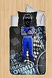 LaModaHome Baby-Bettwäsche-Set aus Baumwolle, Karierte Flagge, Helm, Rennen, Kleinkinder, Baumwolle, Baumwolle, Bettdecke/Tröster, 5 Stück