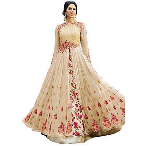 MONIKA SILK MILL Women\'s Dress Material(Zubeda 501-cream_Beige_Free Size)