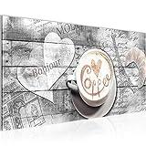 Bilder Kaffee Küche Wandbild 100 x 40 cm Vlies - Leinwand Bild XXL Format Wandbilder Wohnzimmer Wohnung Deko Kunstdrucke Grau 1 Teilig -100% MADE IN GERMANY - Fertig zum Aufhängen 012812c