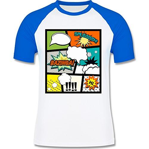 Comic Shirts - Comic Buchseite - zweifarbiges Baseballshirt für Männer Weiß/Royalblau