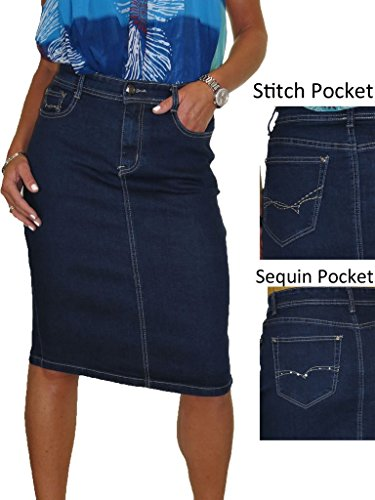 659f801bc8be KRISP Damen Midi Jeansrock Knielang Denim Bleistiftrock. Details · Zum  Angebot · ICE Stretch Jeans Rock, Indigo Blau