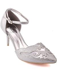 Unze New Women  Dempsey  Pointed Toe Rhinestone Adorned Mid High Heel Party  Evening Hangout 29b37067625