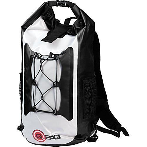 QBag Motorradrucksack Rucksack 05, wasserdicht, staubdicht, reißfest, widerstandsfähig, Rollverschluss, ergonomisch gepolsterte Schultergurte, Hellgrau, 45 Liter