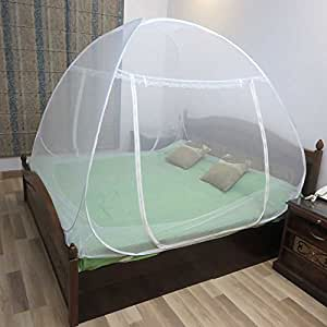 Healthgenie Foldable Mosquito Net Double Bed With Repair Kit of 7 Patches,White