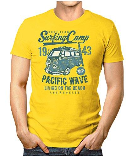PRILANO Herren Fun T-Shirt - SURFING-CAMP-BULLI - Small bis 5XL - NEU Gelb