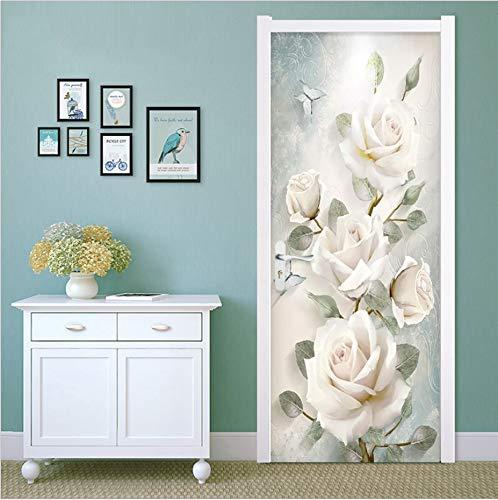 Wasserdichte 3D Kreative Tür Aufkleber Selbstklebende Papier Dekoration Schlafzimmer Wohnzimmer Wandaufkleber Tür Aufkleber Weiße Rosen 77 * 200 Cm Romantica Rosen