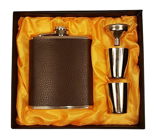 200 ml Flachmann-Geschenkset aus braunem Leder mit zwei Schnapsgläsern und Trichter