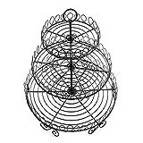 AparkEU Obst Etagere - 32.5 cm Obstkorb für mehr Platz auf der Arbeitsplatte - Obstschale Metall als dekorativer Hingucker in Ihrer Landhaus-Küche, 3 Ablagekörbe, 31 cm, 24.5 cm, 16cm (farbe: Schwarz)