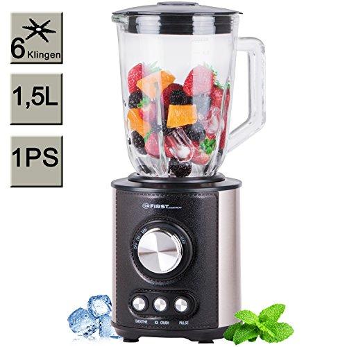 TZS First Austria - 1 PS Standmixer mit 6 Klingen 1,5 Liter, Glas Edelstahl, stufenloser Geschwindigkeitsregelung, Smoothie und Ice-Crush Programm, Pulse Taste, - Eis-mixer