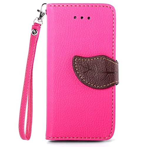 iPhone Case Cover Blatt-Magnetverschluss-Art-erstklassiger PU-lederner Fall-Mappen-Standplatz-Fall mit Handbügel Folio Pretective Fall-Silikon-Abdeckung für IPhone 5 5S SE ( Color : Black , Size : IPh Rose