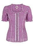 Spieth & Wensky - Karierte Damen Trachten Bluse in verschiedenen Farben, Petra (009791-0115), Größe:50, Farbe:Beere/Weiß (2543)