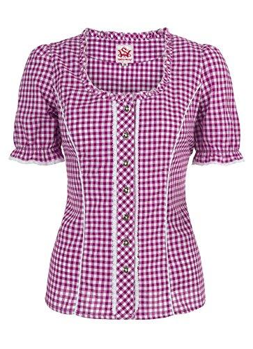 Spieth & Wensky - Karierte Damen Trachten Bluse in verschiedenen Farben, Petra (009791-0115) Beere/Weiß (2543)