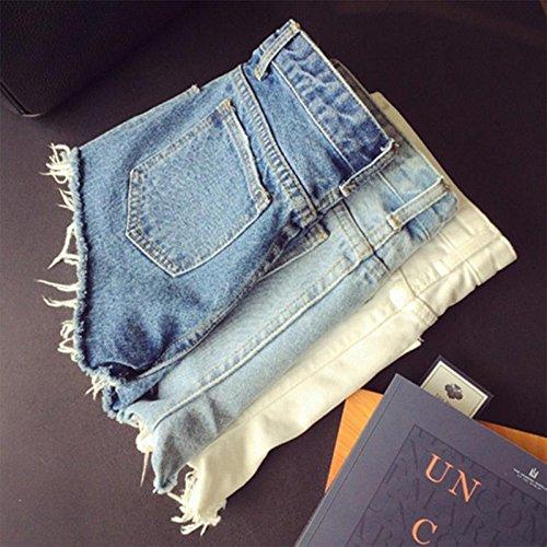 calistous Perfekte Qualität Joker Grate Hosen Blau Denim Jean Shorts zerreißen Säumen Hotpants L & Weiß, blau, M & Light Blue