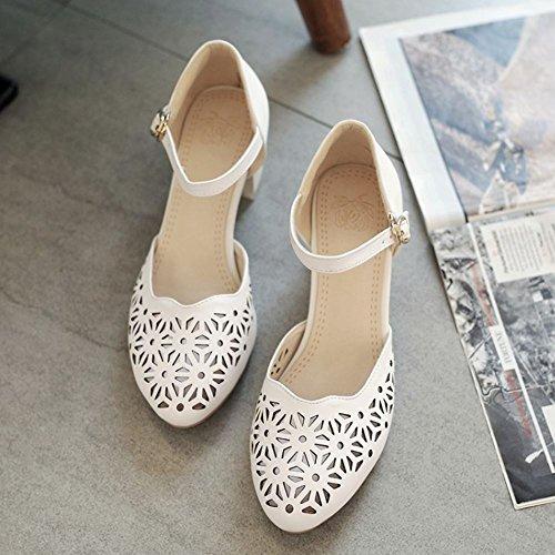 COOLCEPT Femmes Mode Cheville Court Chaussures Bloc Talon moyen Escarpins Bout Ferme Chaussures Blanc