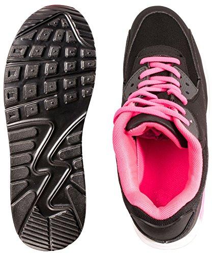 Sport Femmes et Hommes Chaussures rangers Chaussures de course profil semelle Baskets BlackFushia