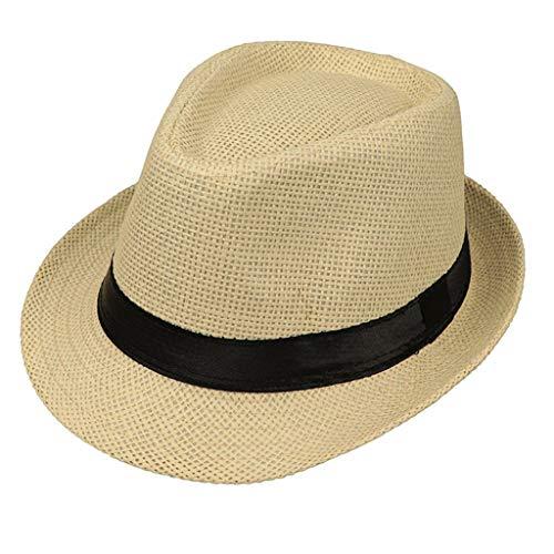 JOYKK Kinder Strohhut Sommer Strand Jazz Panama Trilby Fedora Hut Gangster Mütze Im Freien Atmungsaktive Hüte Mädchen Jungen Sonnenhut - D # Beige