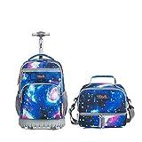 Rucksack mit Rollen Kühltasche für Mädchen,Tilami Schultrolley Schultaschen Isoliertasche Lunchtasche für Kinder Junge und Mädchens Klasse 3-12 Sternenhimmel