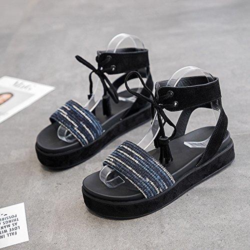 QQWWEERRTT Mode Roman Sandalen Weiblichen Sommer Neue Flache Student Universal Laminat Plattform Schuhe Dicken Boden,Damen,36,Blau (Wahl Laminat)