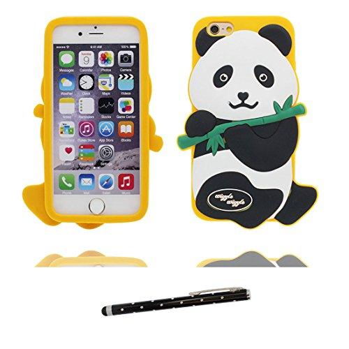 """iPhone 6 Plus Coque, iPhone 6S Étui Cover Housse pour iPhone 6s Plus 5.5 """" Gel TPU Shell iPhone 6 Plus Case (5.5"""") Résistant à la poussière Scratch (3D Cartoon Panda Bamboo) et stylet # 1"""
