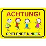 Hinweis-Schild Achtung spielende Kinder I hin_045 I Größe 40 x 30 cm I Warnschild Spielstraße Spielplatz I Vorsicht Kids langsam fahren