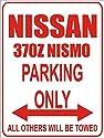 INDIGOS - Parkplatz - Parking Only- Weiß-Rot - 32x24 cm - Alu Dibond - Parking Only - Parkplatzschild - Nissan 370z nismo