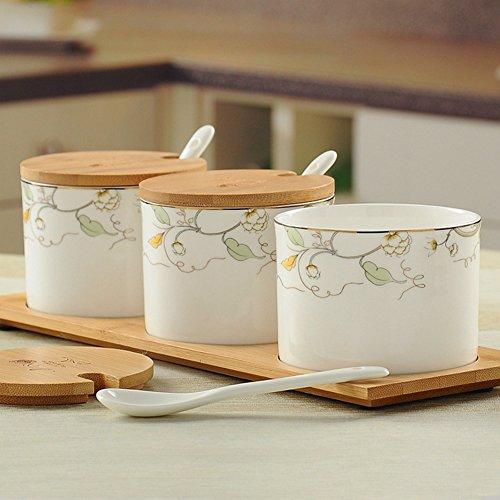 MYITIAN Bone China Geschirr-Set Küche Keramik Gewürz Jar Spice Zylinder Spice Box-Set von drei