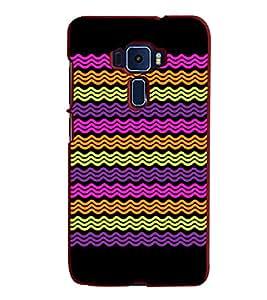 Fiobs Designer Back Case Cover for Asus Zenfone 2 ZE551ML (Multicolor Flow Design)