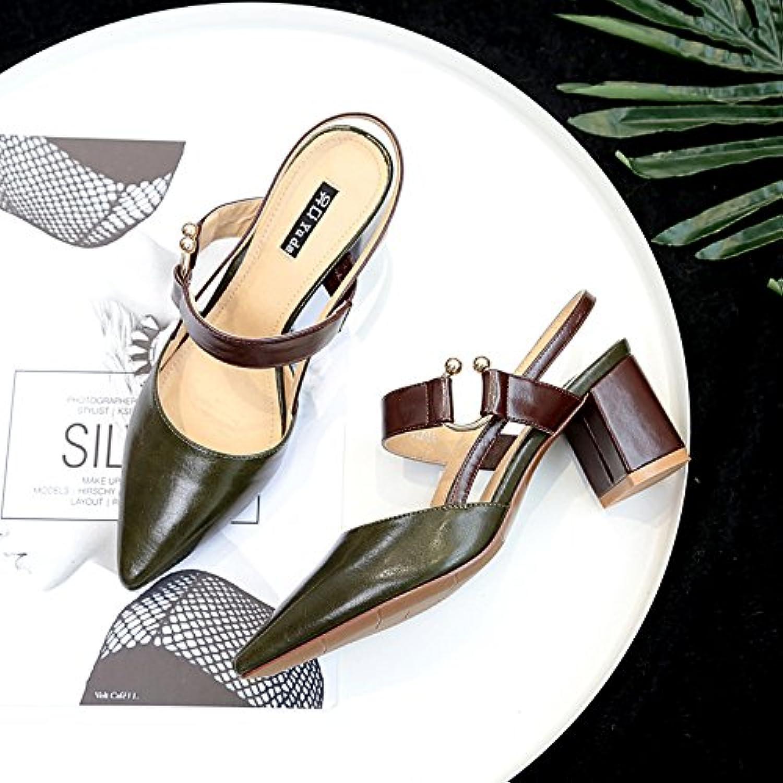 Die High-Heel Schuhe Frauen mit einzelnen Schuhe Baotou Sandalen Tipp ausgesetzt ist Dunkelgrün 35