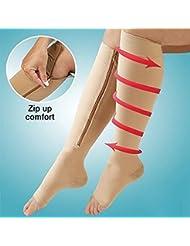kaifang con cremallera compresión medias calcetines hasta la rodilla Soporta pierna puntera abierta 10mm Hg cremallera, color Complexion, tamaño S/M