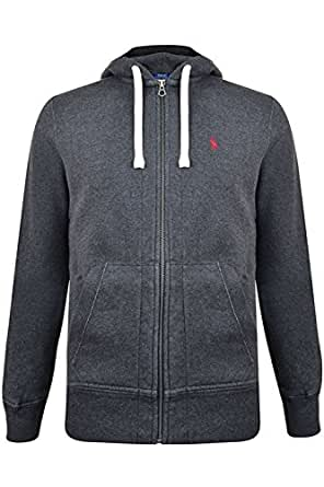 Polo Ralph Lauren – Einfarbiger Kapuzenpullover Zip Hoodie aus Jersey Farbe:Dunkel Grau Weiss Pony GR:M
