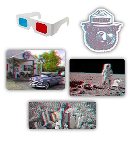 Stickernaut 3D-Aufkleber-Set 1, Vinyl, matt, inkl. Brille, 4 Stück