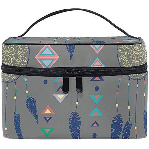 Bolsas de cosméticos Atrapasueños con Plumas de pájaros y Figuras geométricas Organizador de Maquillaje Bolsa de artículos de tocador Bolsa de Lavado 9x6.5x6.2 Pulgadas