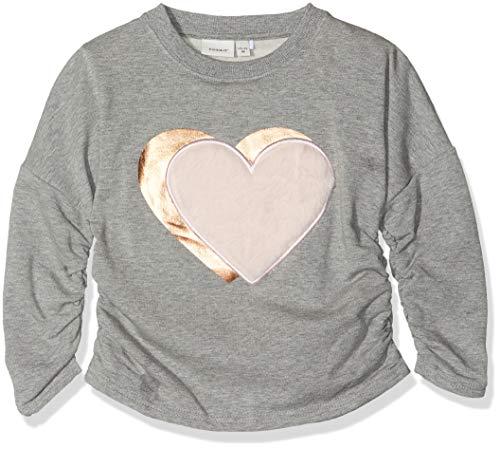 NAME IT Mädchen NMFOLGINE Sweat BRU Sweatshirt, Grau (Grey Melange), 122 (Herstellergröße: 122/128)