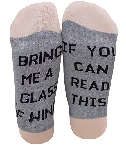 Chalier IF YOU CAN READ THIS BRING ME A GLASS OF WINE Socken Lustige Unisex Damen Mann Socken Neuheit Baumwolle Crew Socken MEHRWEG
